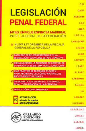 LEGISLACIÓN PENAL FEDERAL. 2019