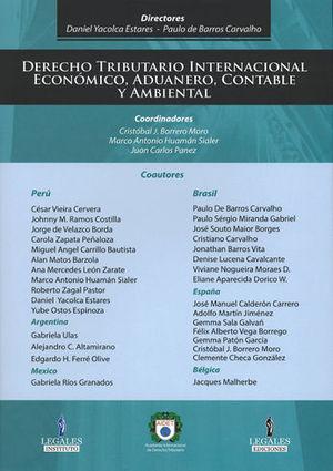 DERECHO TRIBUTARIO INTERNACIONAL, ECONOMICO, ADUANERO, CONTABLE Y AMBIENTAL