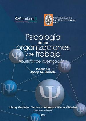 PSICOLOGÍA DE LAS ORGANIZACIONES  Y DEL TRABAJO