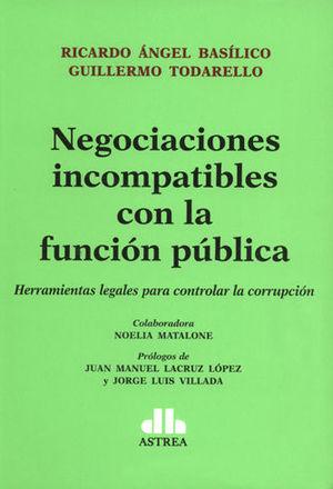 NEGOCIACIONES INCOMPATIBLES CON LA FUNCION PÚBLICA