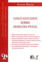 CINCO ESTUDIOS SOBRE DERECHO PENAL (NÚMERO NUEVE)