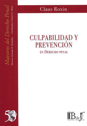 CULPABILIDAD Y PREVENCIÓN EN DERECHO PENAL
